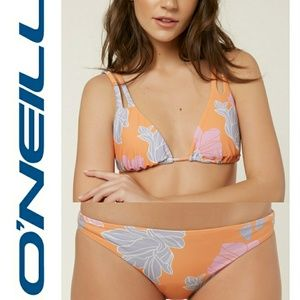 NWT O'Neill Orange Flower Print Bikini Small